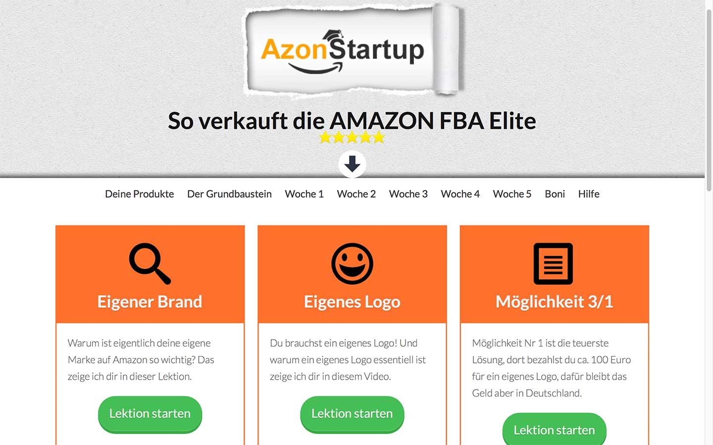 Mitgliederbereich Azon Startup nach dem Update