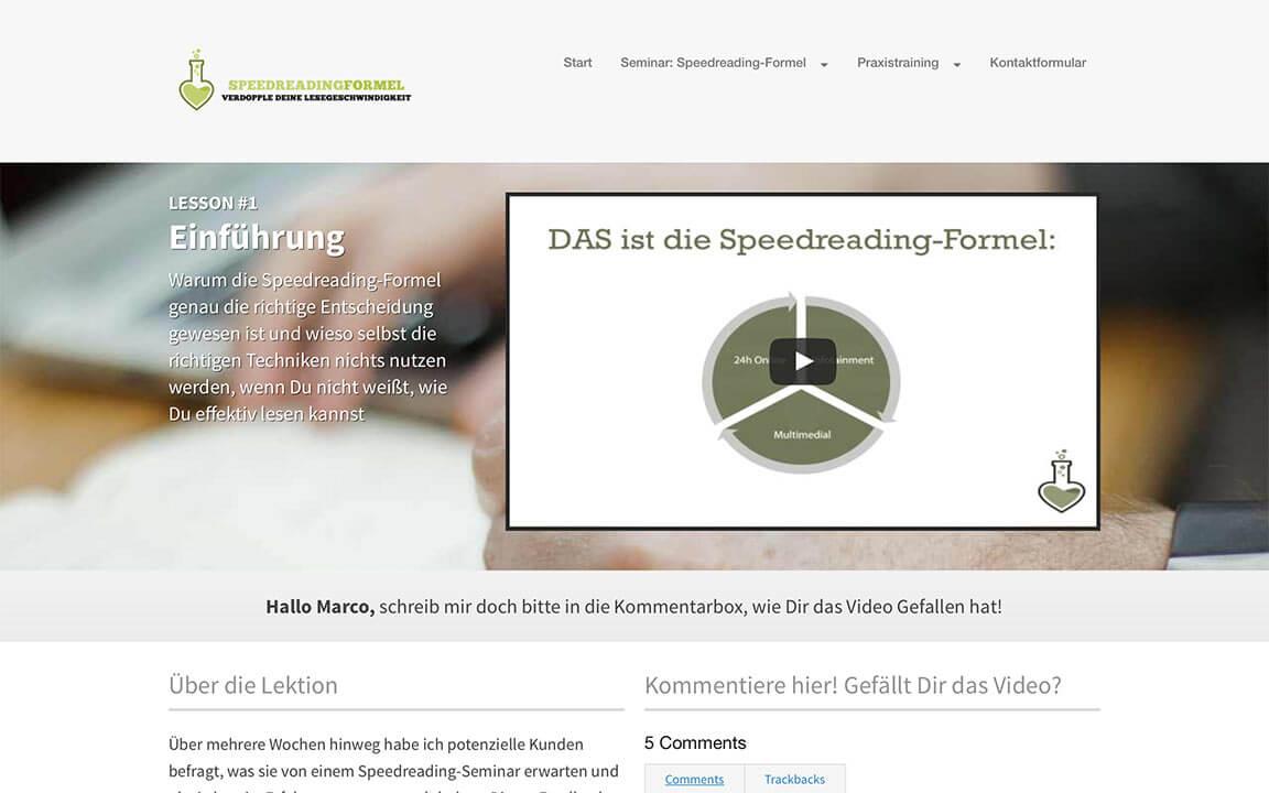 Mitgliederbereich der Speedreading-Formel