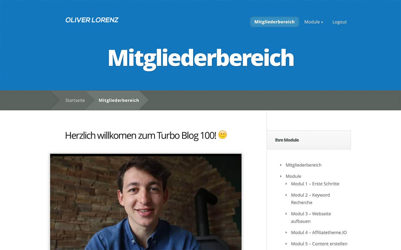 Mitgliederbereich des Turbo Blog 100