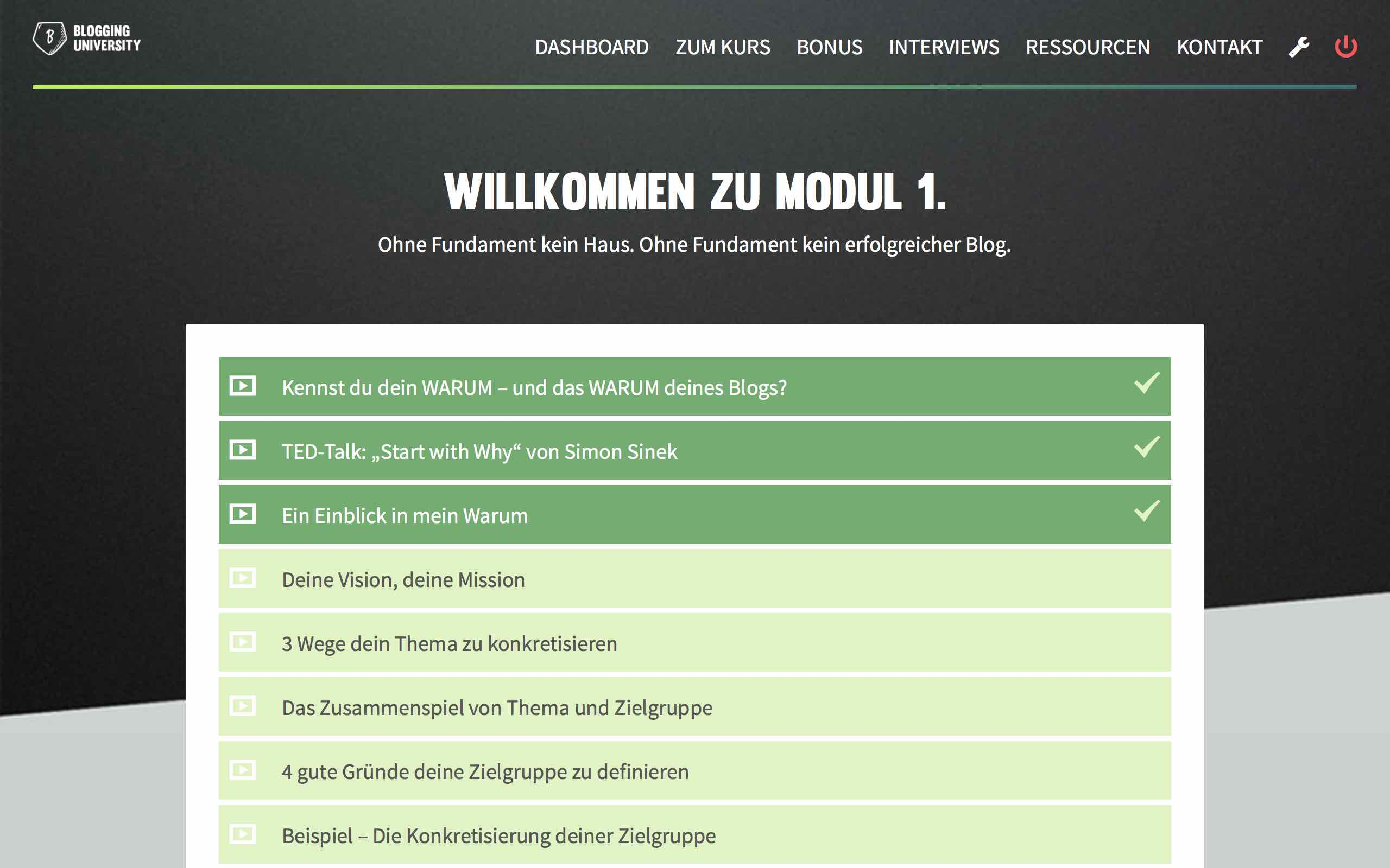 Modul der Blogging University von Ben Paul