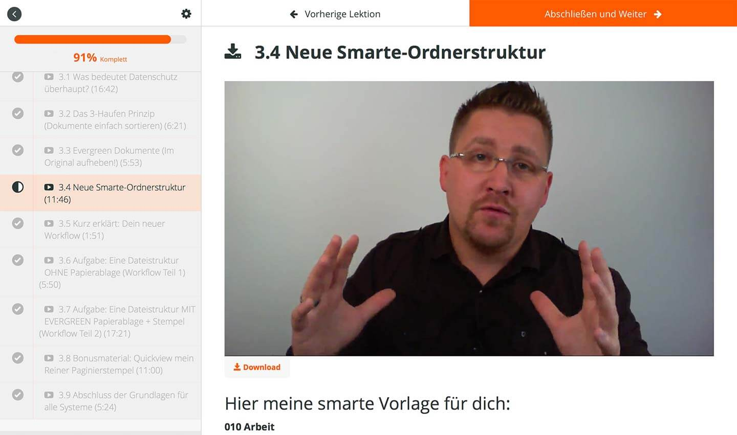 Beispielvideo Kurs papierloses Büro mit System by Paperless Pioneer André Nünninghoff