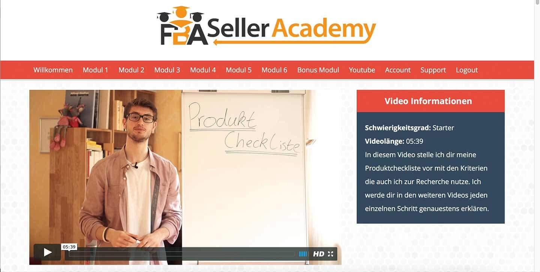 Mitgliederbereich der FBA Seller Academy von Lukas Mankow