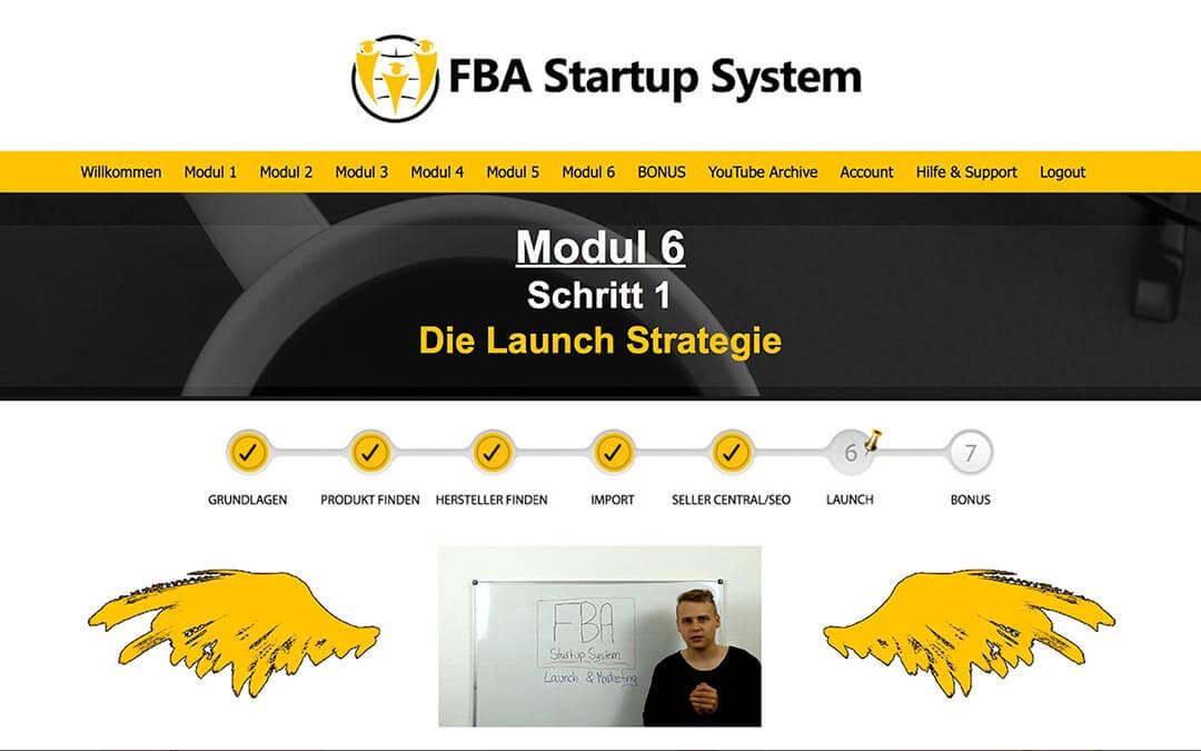 Mitgliederbereich des FBA Startup Systems mit Übersichtsvideo