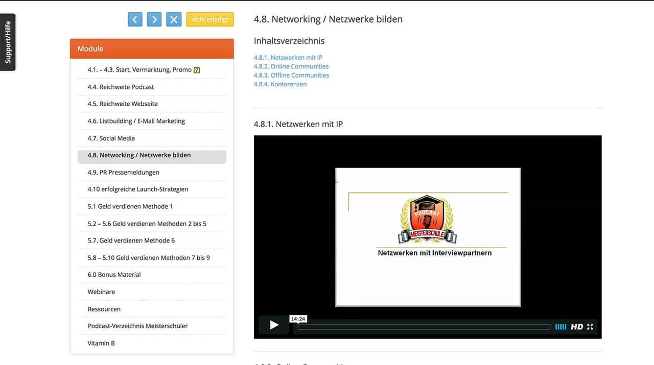 Mitgliederbereich und Beispielvideo der Podcast Meisterschule