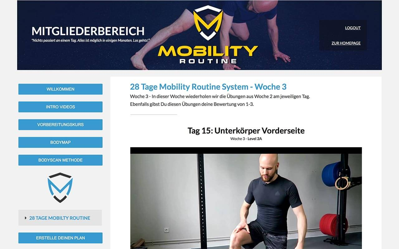 Mitgliederbereich der Mobility Routine von Tamay Jentjens
