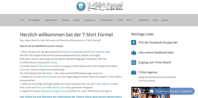 Mitgliederbereich der T-Shirt Formel von Reto Stuber