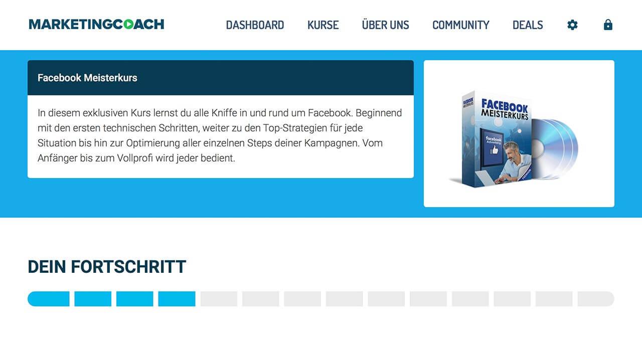 Übersichtliches Design und hochwertige Infos machen den Facebook Meisterkurs zu einem Top Kurs für Facebook Ads
