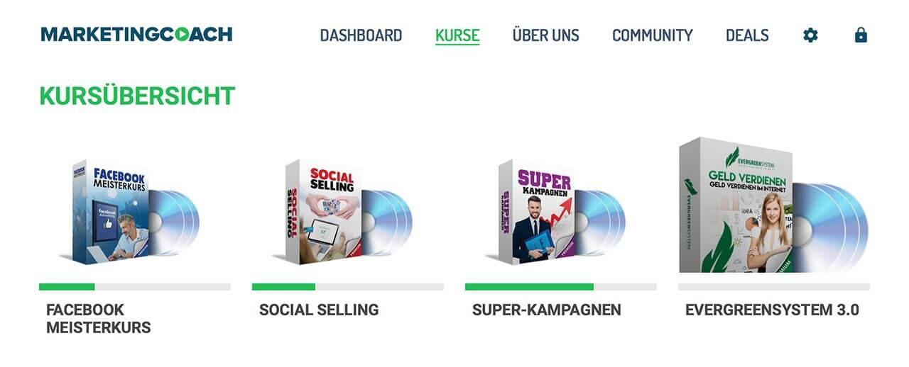 Die Bestandteile des Facebook Meisterkurses (Social Selling + Superkampagnen sehr empfehlenswert)