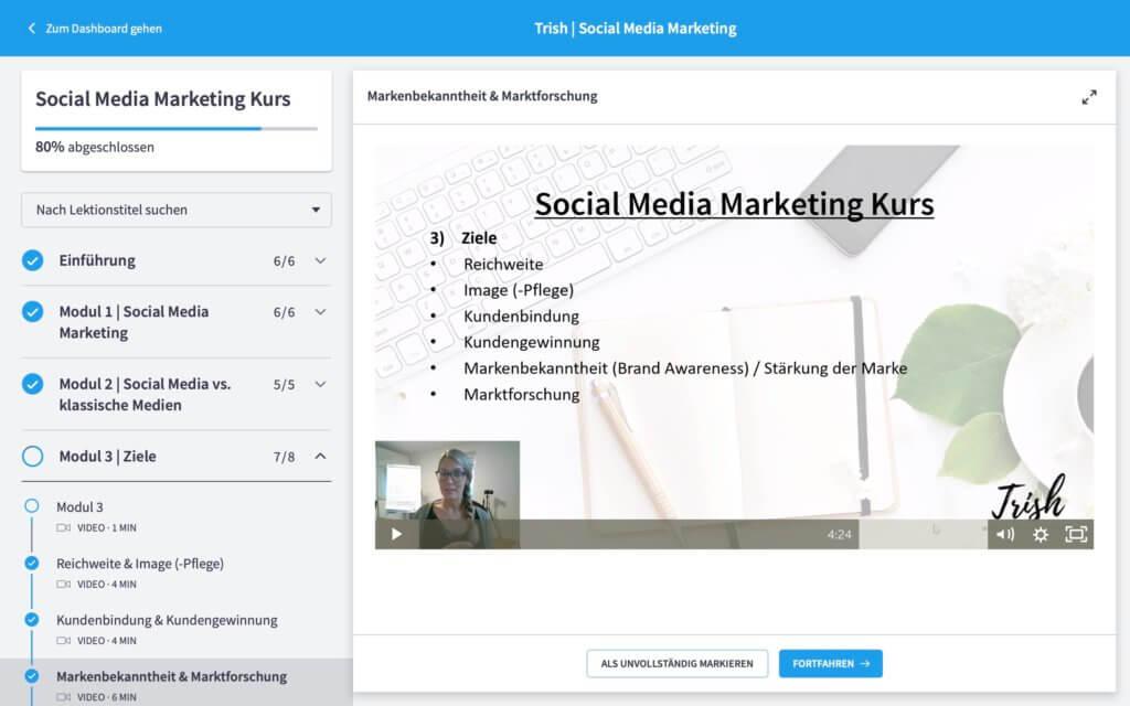 Erfahrungen und Review, Testbericht zu Social Media Marketing Kurs von Trish Social Media